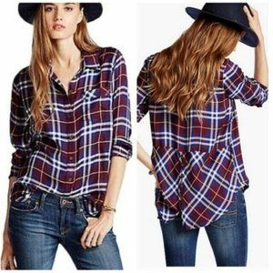 Lucky Brand Bungalow Button Down Back Plaid Shirt